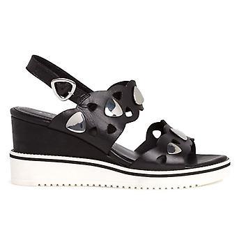 Tamaris schwarz Leder Tamaris Damen Sandale mit Keil