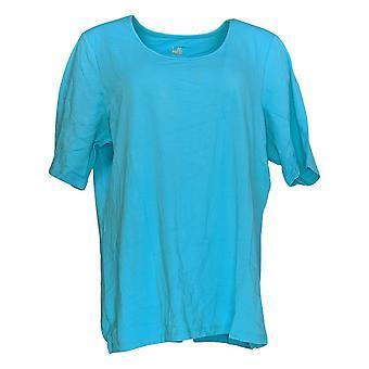 Belle por Kim Gravel Women's Top Essentials Elbow Sleeve Blue A291216