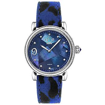 GV2-tekijä Gevril Womens Ravenna 12603 Swiss Quartz Animal Print Suede Diamond Watch