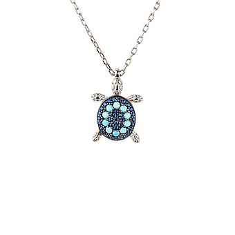 925 Sterling Silver Blue Sea Turtle Animal Turquoise Gemstone Pendant Necklace