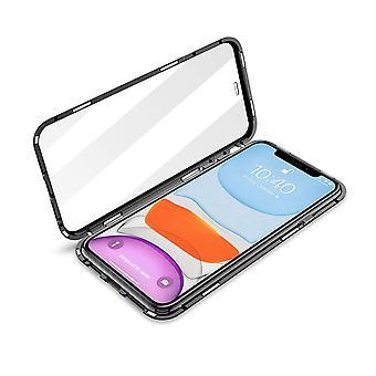 Doppelseitige Magnetschale für iPhone 12 (6,1 Zoll) mit gehärtetem Glas Schwarz