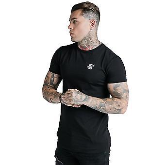 Sik Silk Ss-18056 Camiseta de Gimnasia de Núcleo de Dobladillo Recto - Negro