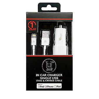 Car Charger single USB 2.4 Amps, Sync and Charge Cable for iPod/iPhone/iPad