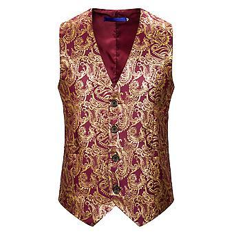YANGFAN Men's V-neck Four-button Bronzing Cashew Print Waistcoat