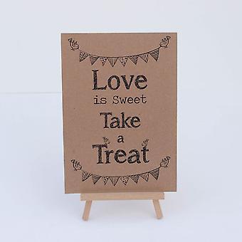 Söt chokladkaka Sign Kraft brun 'Kärlek är söta' tecken och staffli - bröllop