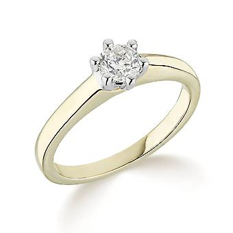 9K Yellow Gold Traditional 6 Claw Setting 0.25Ct Certified Solitaire Diamond Engagement Ring