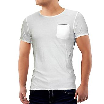 Män sommar T-Shirt Polo Stretch Slim fit Clubwear skjorta + bröstficka Pocket