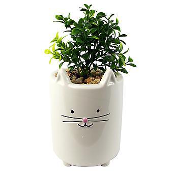 20cm Ceramic White Cat Planter with Artificial Foliage Plant