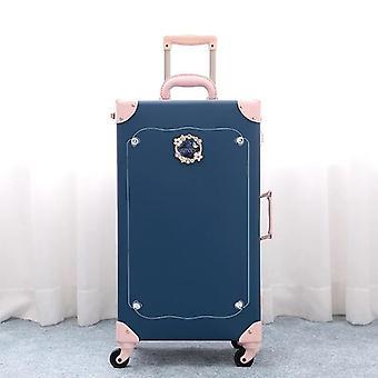 Retro Pu Leather Suitcase Set Women Vintage Travel Bag Boarding Box Fashion