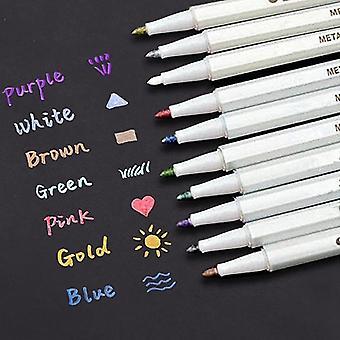 Satz von 10 Farben wasserdichte metallische Marker Stifte Handwerk Tagebuch Scrapbooking - Papier Kunststoff Glas - Gold Silber Pink & mehr