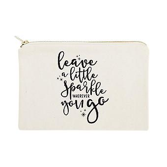Leave A Little Sparkle Wherever You Go Cotton Canvas Cosmetic Bag