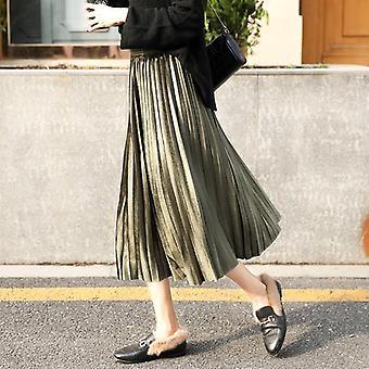 Plisowana długa spódnica kobiety jesień zima aksamitna wysoka talia casual luźne biuro lady