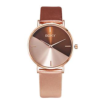 SOXY Minimalist Watch for Women - Leather strap - Anologue Quartz Movement for Women Gold