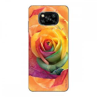 Casco para Xiaomi Poco x3 Nfc en silicona suave 1 mm, flor rosa colorida