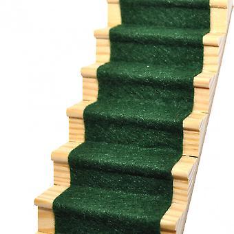 Dolls House Ivy Green Wool Mix Stair Carpet Runner Self Adhesive 1:12 Flooring