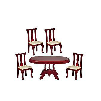 Dolls House Mahońy Queen Ann Jadalnia Meble Zestaw z owalnym stołem 1:12