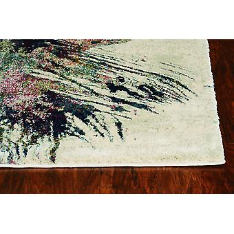 3'x5' Ivory Machine Woven Abstract Design Indoor Area Rug