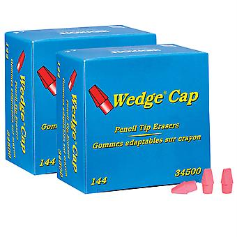 Wedge Pencil Cap Erasers, Pink, 144 Per Pack, 2 Packs