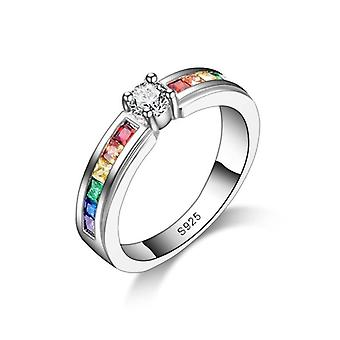 Rainbow Promise Beautiful Engagement Rings For Lover, Sterling Silver, Elegant