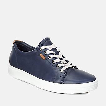 Soft 7 w 430003 01038 marine - ecco navy blue soft leather ladies trainers