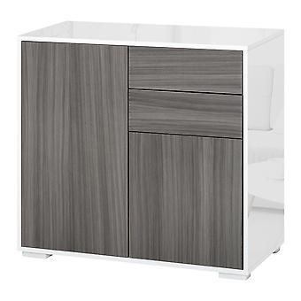 HOMCOM High Gloss Sideboard Push-Open Design with 2 Drawer for Living Room, Bedroom, Light Grey and White