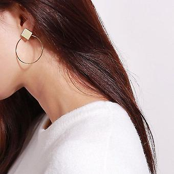 Gold Metal Long Circle Pendant Earrings
