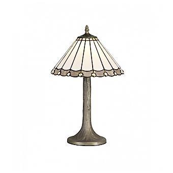 Lámpara De Mesa Tiffany Calais 1 Bombilla Gris 23 Cm