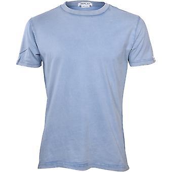 הפעל מחדש חולצת טריקו קלאסית לשטיפת אבן, כחול בהיר