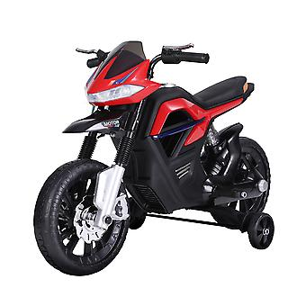HOMCOM 6V Ride On Battery Powered Motorcycle Forward Brake Children Electric Scooter Vehicle Working Lights Music Red