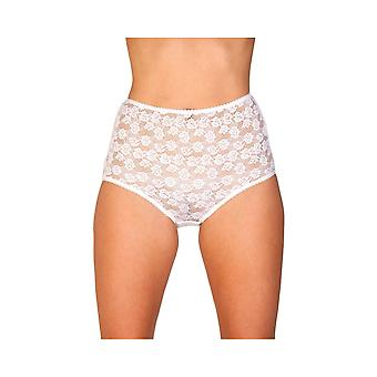 Camille Womens Three Pack White Floral Lace Maxi Briefs