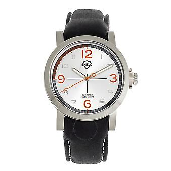 Shield Berge Quartz Silver Dial Black Leather Men's Watch SLDSH101-1