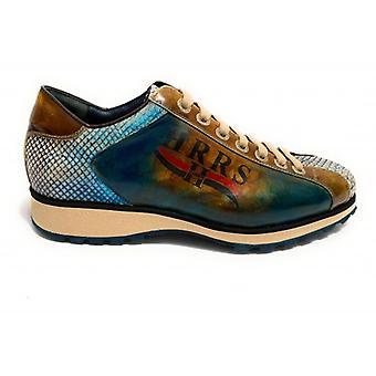 Men's Shoes Harris Sneakers Fine Leather Nabuk Phyton Lino Blue U17ha141
