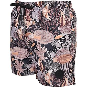 Joop! Jeans Fish Coral Print Swim Shorts, Black/gold