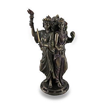 Bronze-Finish dreifache Form Hecate griechische Göttin der Magie Statue