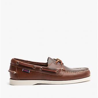 Sebago Dockside Portland Mens Leather Deck Shoes Brown