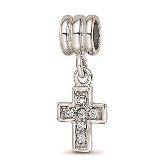 925 Sterling Silver Reflections Rhod plated Crystals From Religious Faith Cross Bead Jewelry Gifts for Women