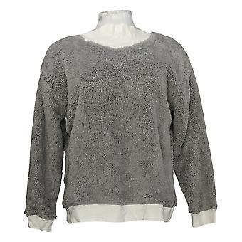 Cuddl Duds Women's Sweater Petite Sherpa Pullover Grey A381803