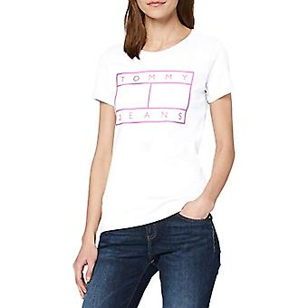 Tommy Jeans Tjw Metallic Flag Tee T-Shirt, Blanc (White Ybr), 38 (Taille Unique: X-Small) Femme