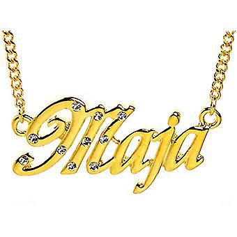 """L Maja - 18-karats guldpläterat halsband, med anpassningsbart namn, justerbar kedja på 16""""- 19"""", i Regal Packaging"""