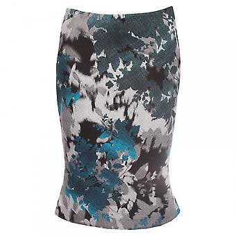 Paola Collection Embossed Print Fitted Fishtail Skirt