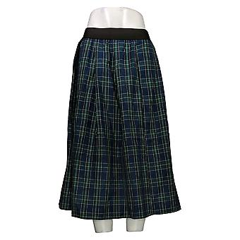 Joan Rivers Classics Collectie Petite Skirt Pull-On Plaid Midi Blauw A366850