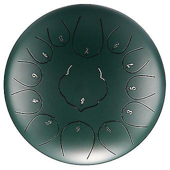 Green 12 inch 13-tone steel tongue drum mini hand pan drums with drumsticks cai1060
