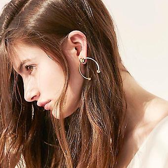 Femmes demi-boucles d'oreilles rondes à la mode géométrique femme fête de mariage boucles d'oreilles