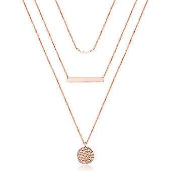 Läckert lager choker halsband, multilayer bar skiva halsband för kvinnor (rosenguld)