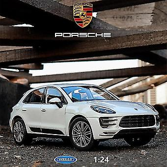 1:24 Porsche Macan Alloy Car Model Simulation Car Decoration Collection Gift Toy Die(White)
