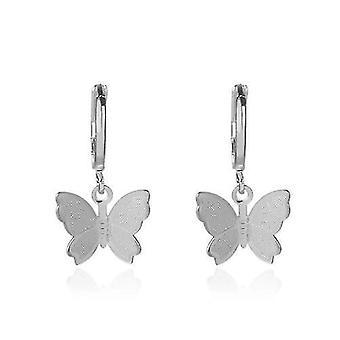 Gold Kette Schmetterling Anhänger Choker Halskette Frauen Böhmisch (Silber)