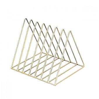 Wrought Iron Golden Triangle Newspaper Rack(Golden)