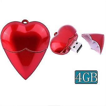 4GB srdce styl USB2.0 Flash disk (červená)
