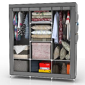 Folding cabinet 130x175x45 cm - with zipper fabric cabinet wardrobe with clothes rail, compartments and side pocket