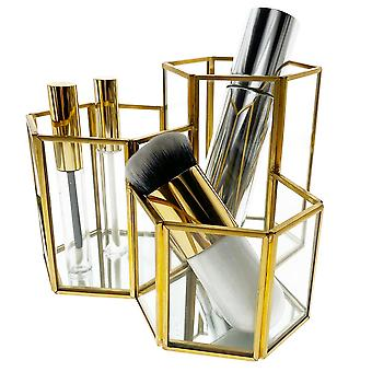 OnDisplay Phoebe 3-sektion Hexagon Deluxe Glass / Golden Steel Cosmetic / Desktop Organizer - Perfekt för fåfänga, badrum, kontor eller skrivbord - Klassisk mångsidig arrangör